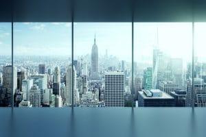 mytí oken na výškových budovách